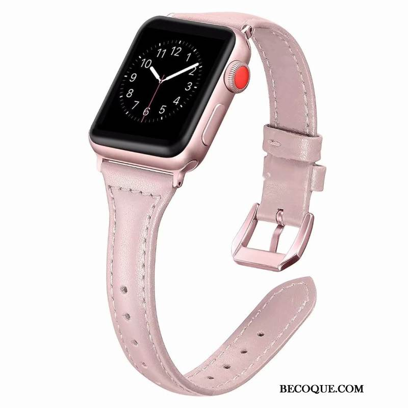 Coque Apple Watch Series 1 Cuir Côté Fin Rose, Étui Apple Watch Series 1