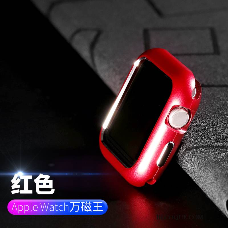 Coque Apple Watch Series 1 Métal Rouge Incassable, Étui Apple Watch Series 1 Sacs Border Placage