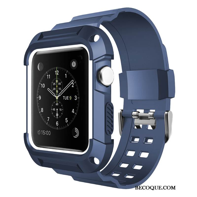 Coque Apple Watch Series 1 Silicone Bleu Personnalité, Étui Apple Watch Series 1 Protection Imperméable Sport