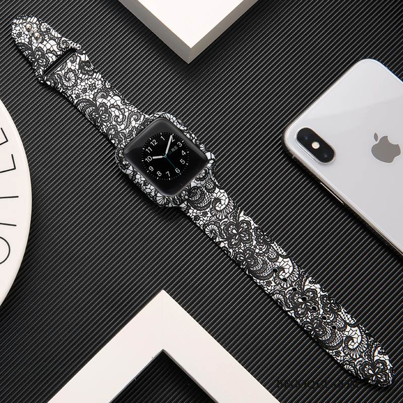 Coque Apple Watch Series 1 Silicone Noir Marque De Tendance, Étui Apple Watch Series 1 Protection Imprimé