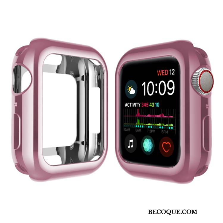 Coque Apple Watch Series 4 Fluide Doux Rose Pu, Étui Apple Watch Series 4 Silicone Placage
