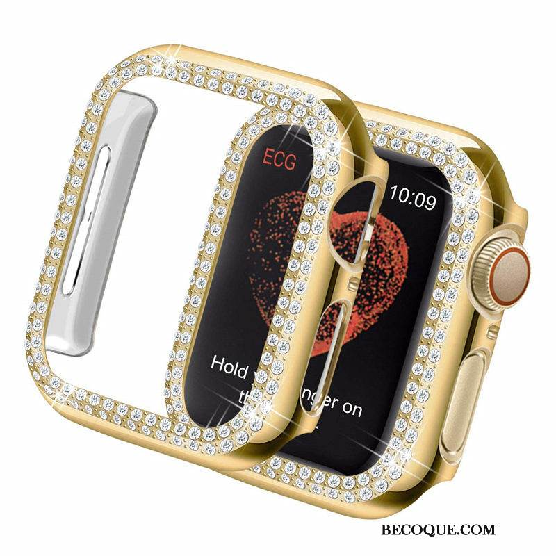 Coque Apple Watch Series 4 Protection Border Or, Étui Apple Watch Series 4 Strass Difficile Tendance