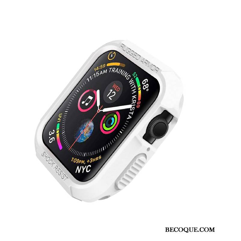 Coque Apple Watch Series 4 Silicone Incassable Blanc, Étui Apple Watch Series 4 Protection