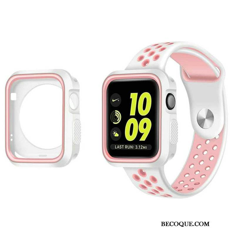 Coque Apple Watch Series 5 Silicone Blanc Refroidissement, Étui Apple Watch Series 5 Protection Sport