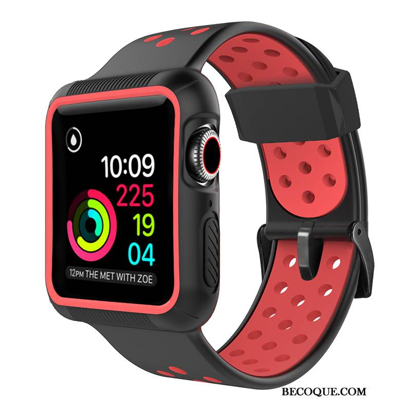 Coque Apple Watch Series 5 Silicone Rouge Sport, Étui Apple Watch Series 5 Protection