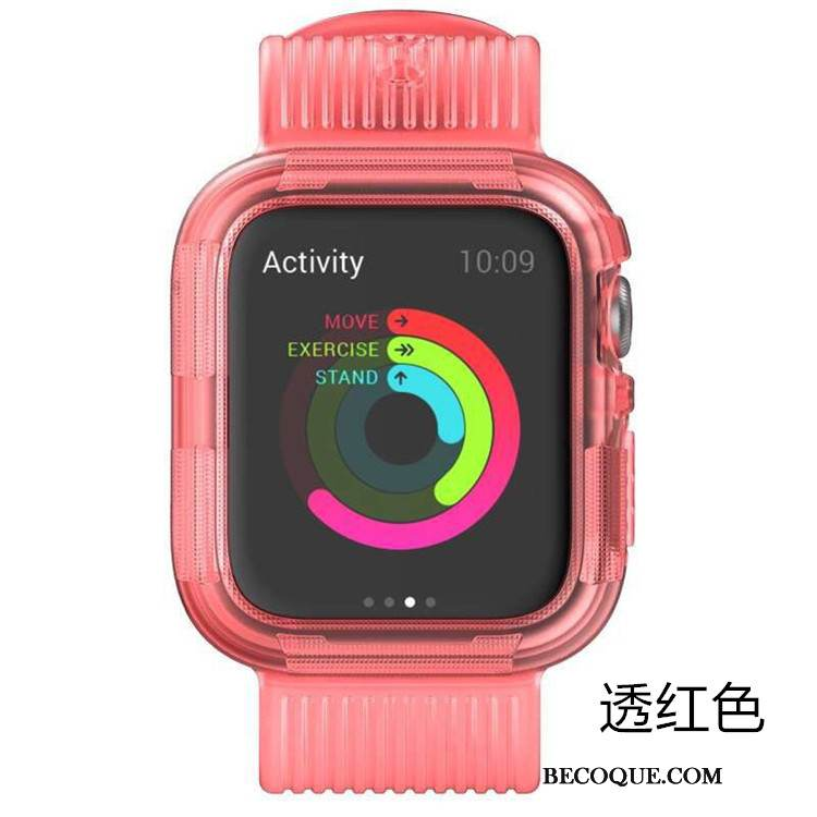 Coque Apple Watch Series 5 Silicone Sport Rose, Étui Apple Watch Series 5 Protection Incassable Armure