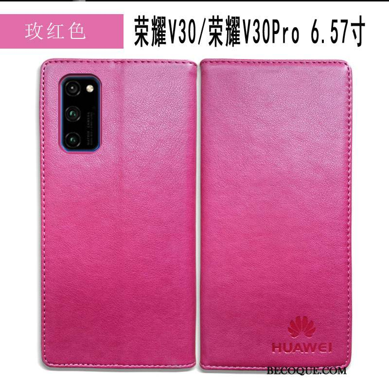 Coque Honor View30 Pro Cuir Business Simple, Étui Honor View30 Pro Protection De Téléphone Rouge