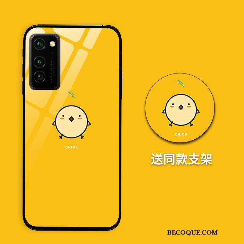 Coque Honor View30 Pro Sacs Incassable Verre, Étui Honor View30 Pro Créatif Jaune Net Rouge