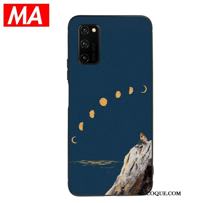 Coque Honor View30 Pro Silicone Bleu Beau, Étui Honor View30 Pro Fluide Doux Net Rouge Simple