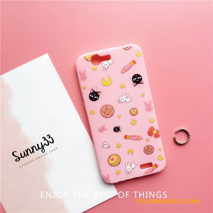 Coque Huawei Ascend G7 Fluide Doux Charmant Incassable, Étui Huawei Ascend G7 Silicone Chat Rose