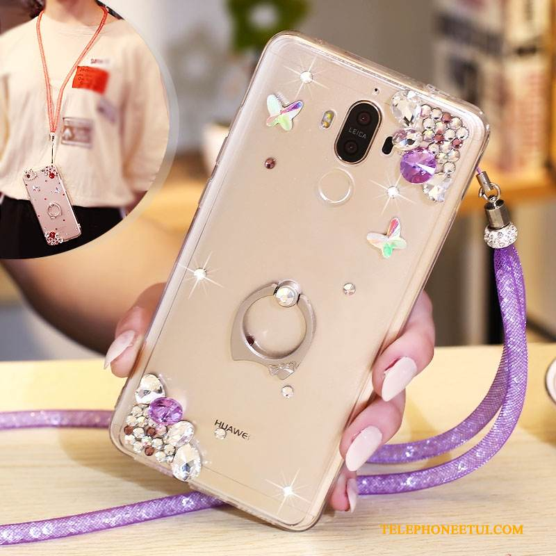 Coque Huawei Mate 10 Pro Strass Violet, Étui Huawei Mate 10 Pro Protection