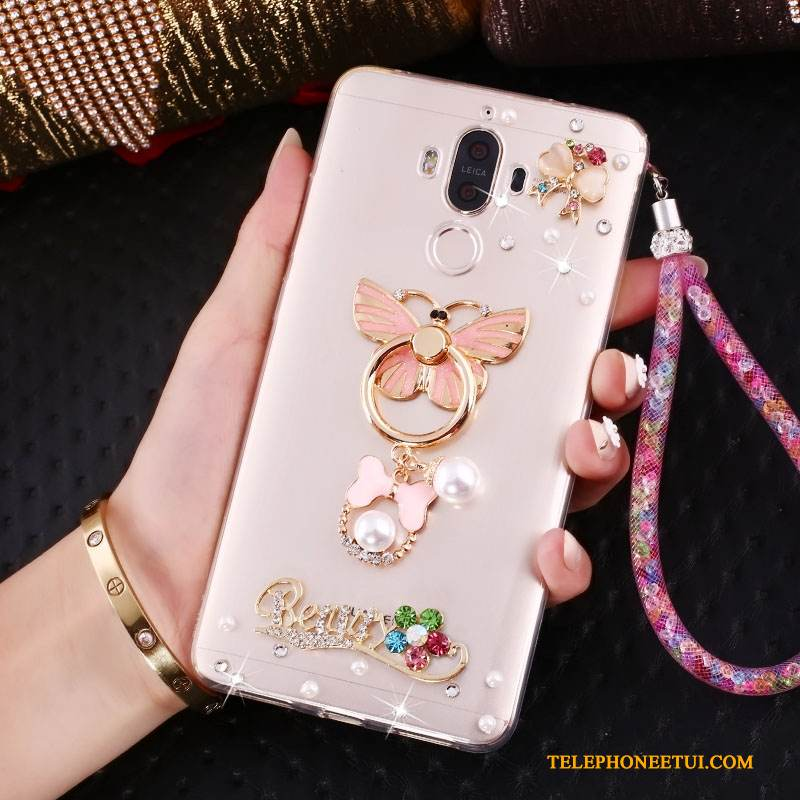 Coque Huawei Mate 10 Pro Support Rose Incassable, Étui Huawei Mate 10 Pro Strass Ornements Suspendusde Téléphone