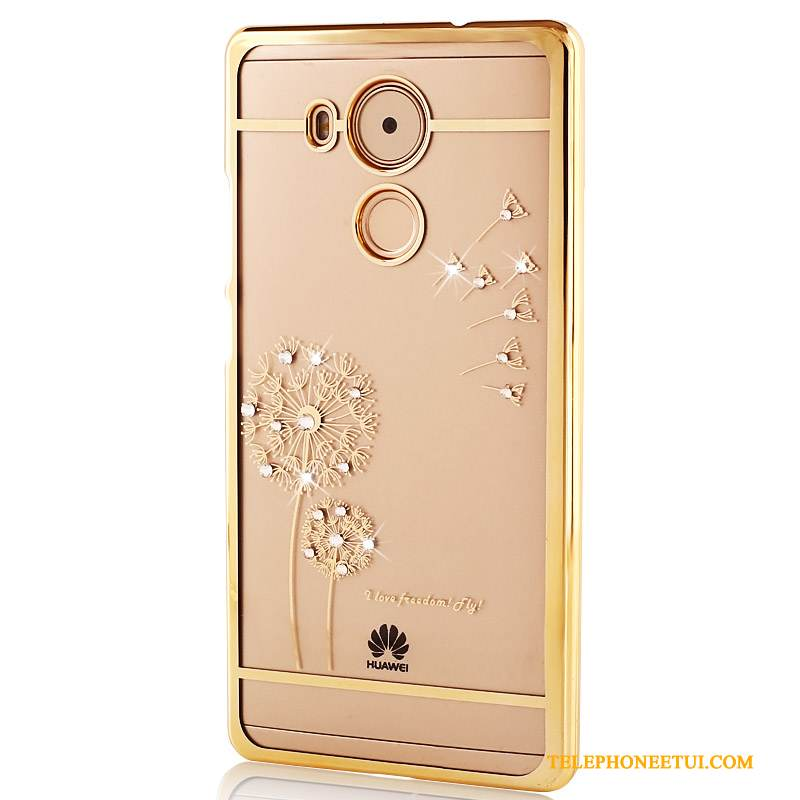 Coque Huawei Mate 8 Strass Transparent Difficile, Étui Huawei Mate 8 Protection De Téléphone Or