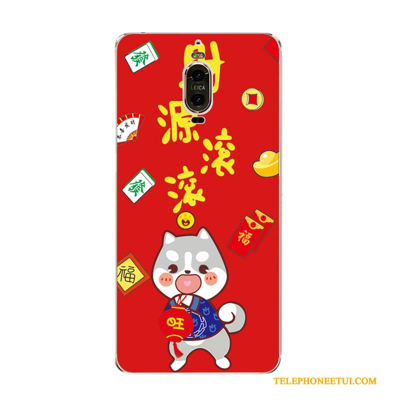 Coque Huawei Mate 9 Pro Fluide Doux Rouge Chiens, Étui Huawei Mate 9 Pro Protection Richesse Grand