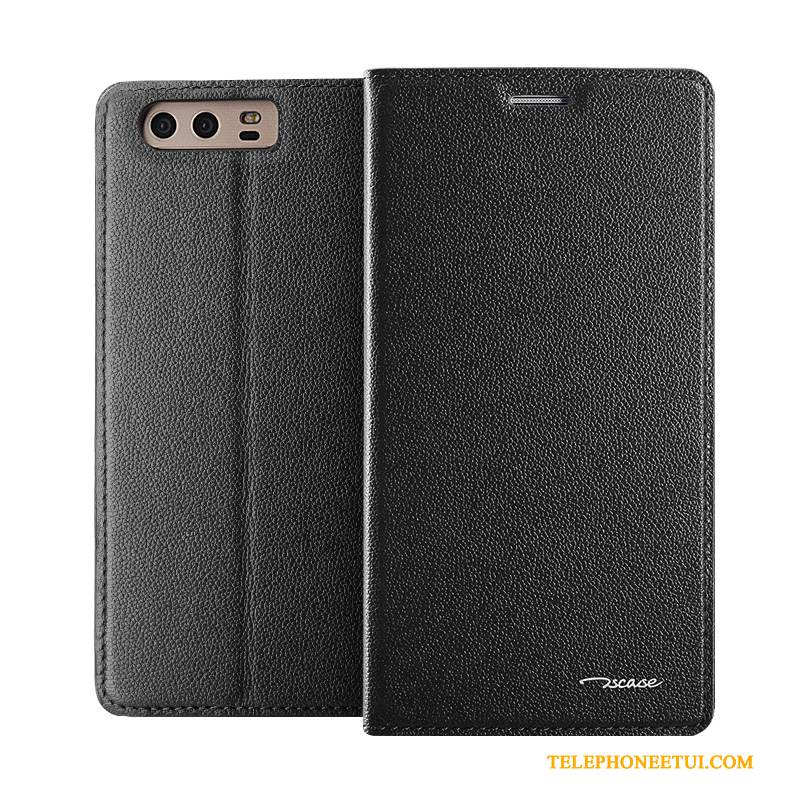 Coque Huawei P10 Cuir Incassable Noir, Étui Huawei P10 Cuir Business Europe