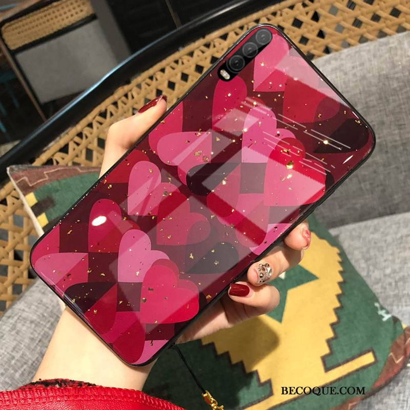Coque Huawei P30 Mode Tendance Amour, Étui Huawei P30 Silicone Vent Rouge