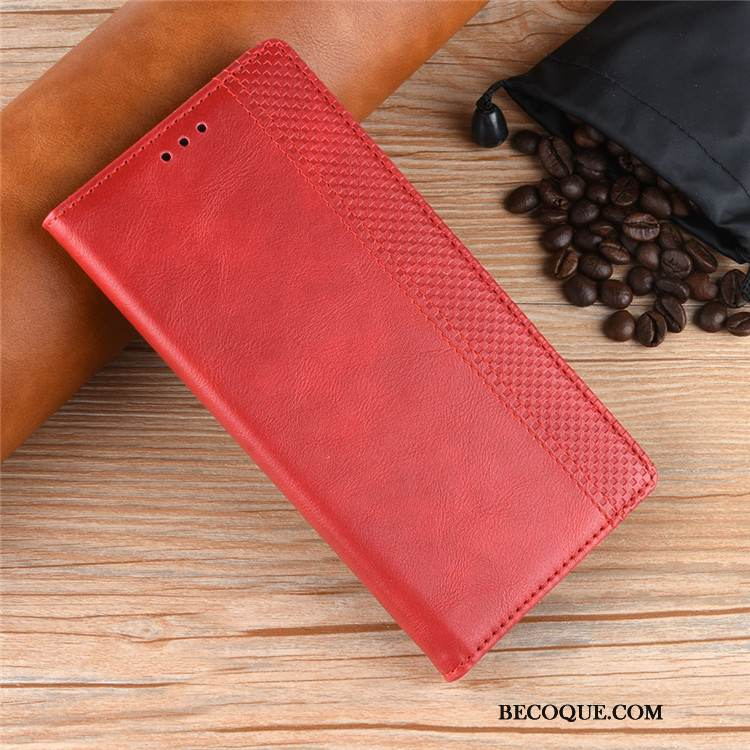 Coque Huawei Y7 2019 Portefeuille Carte Incassable, Étui Huawei Y7 2019 Protection Rouge
