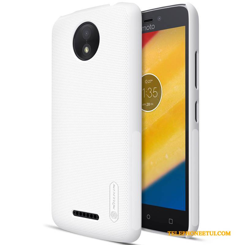 Coque Moto C Plus Protection Blanc Difficile, Étui Moto C Plus Délavé En Daim Or