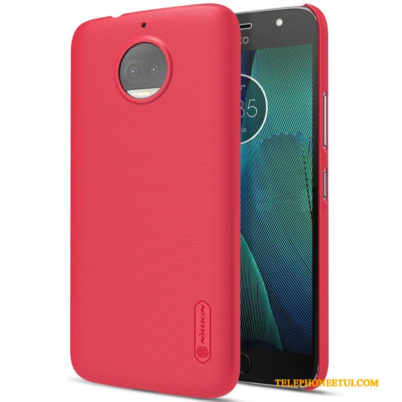Coque Moto G5s Plus Protection Rouge Incassable, Étui Moto G5s Plus Or Délavé En Daim
