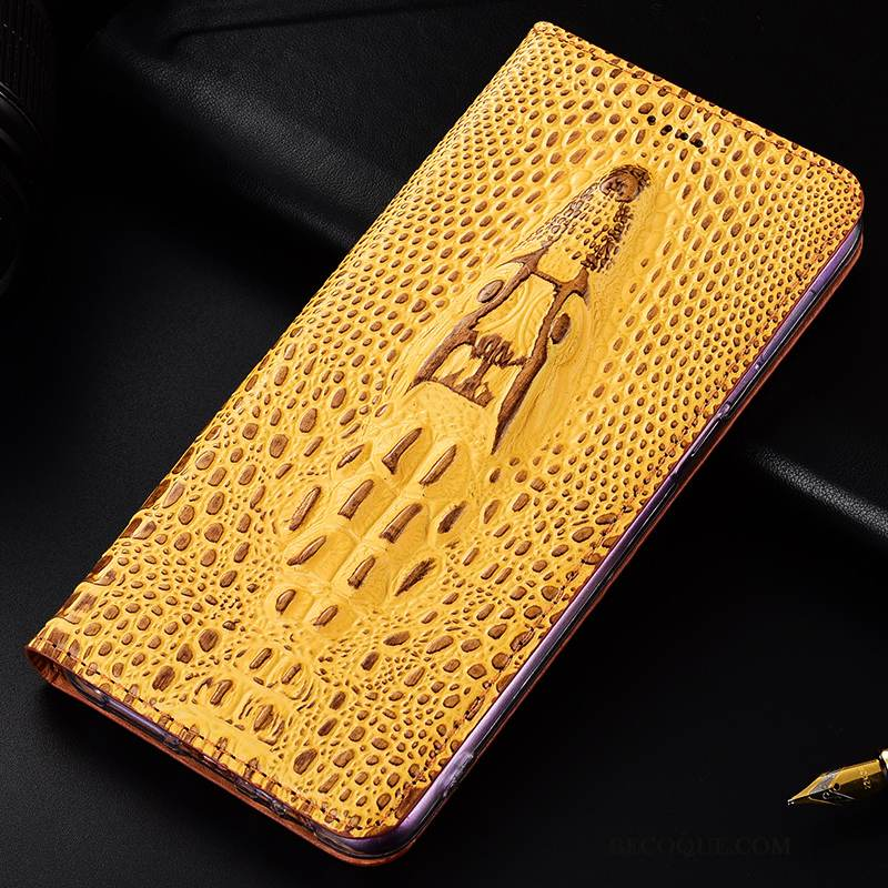 Coque Moto G7 Power Protection Jaune Crocodile, Étui Moto G7 Power Cuir Europede Téléphone