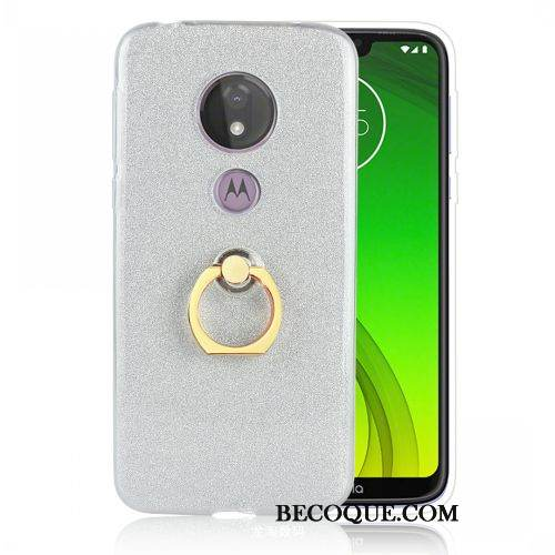 Coque Moto G7 Power Support Rose Argent, Étui Moto G7 Power Fluide Doux Incassable Europe