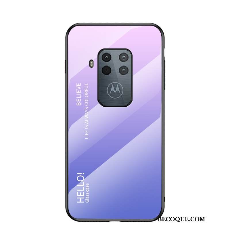 Coque Motorola One Zoom Sacs Violet Net Rouge, Étui Motorola One Zoom Protection Dégradé Tendance