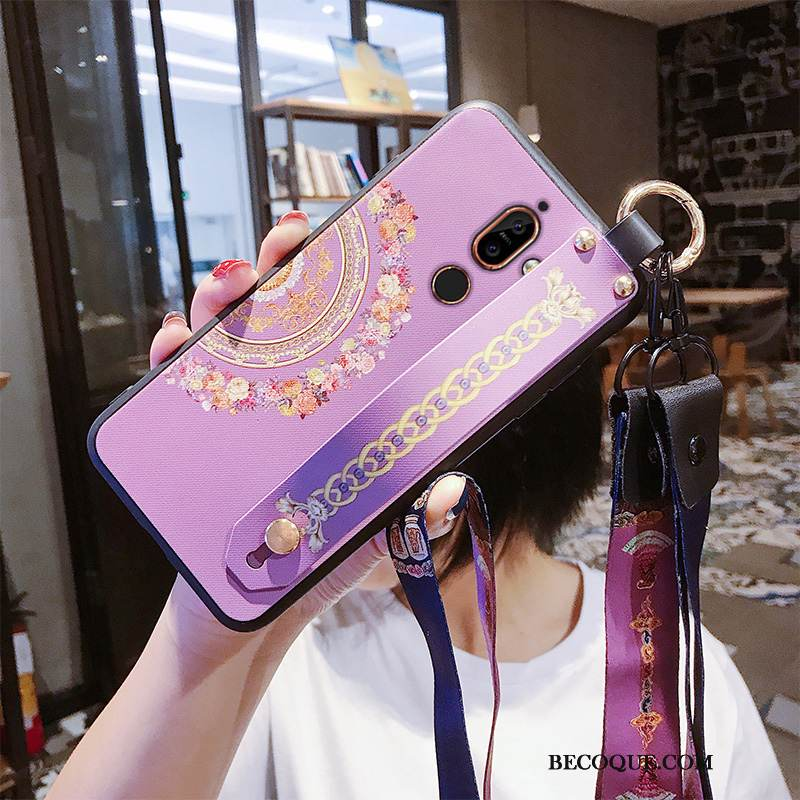 Coque Nokia 7 Plus Pu Ornements Suspendus, Étui Nokia 7 Plus Violet Incassable