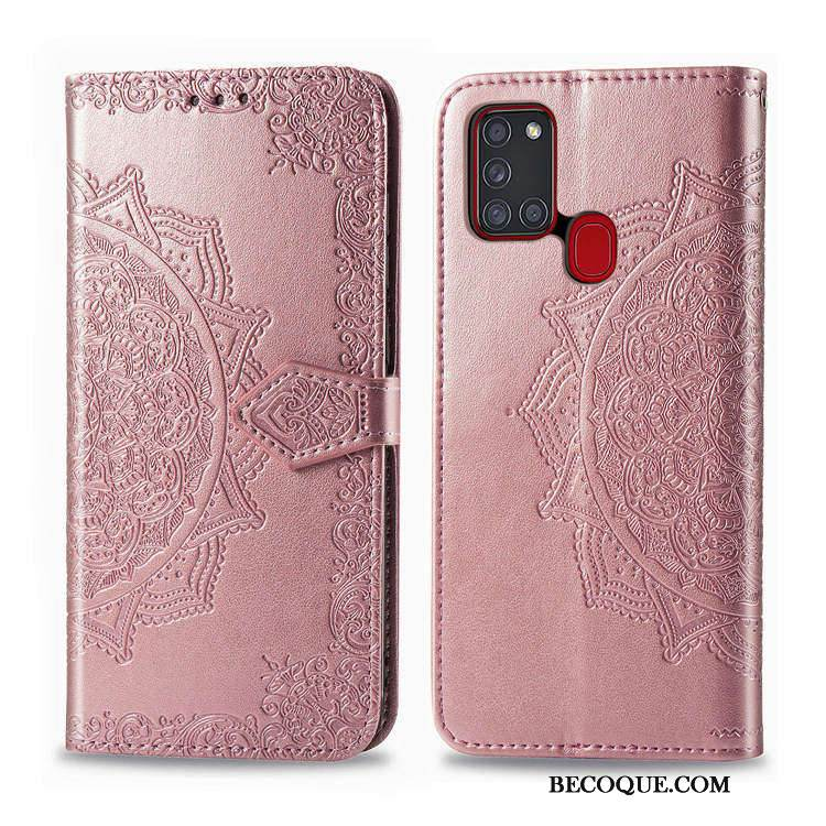 Coque Samsung Galaxy A21s Support Incassable Rose, Étui Samsung Galaxy A21s Portefeuille De Téléphone