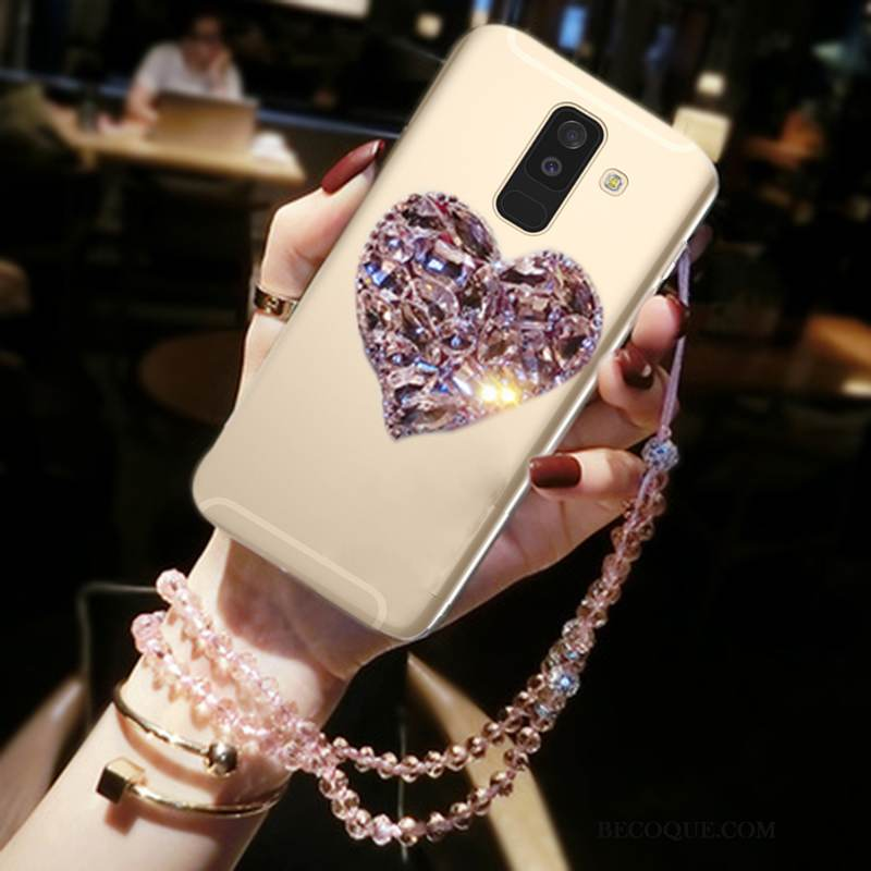 Coque Samsung Galaxy A6+ Strass Amour Incassable, Étui Samsung Galaxy A6+ Protection Ornements Suspendus Or