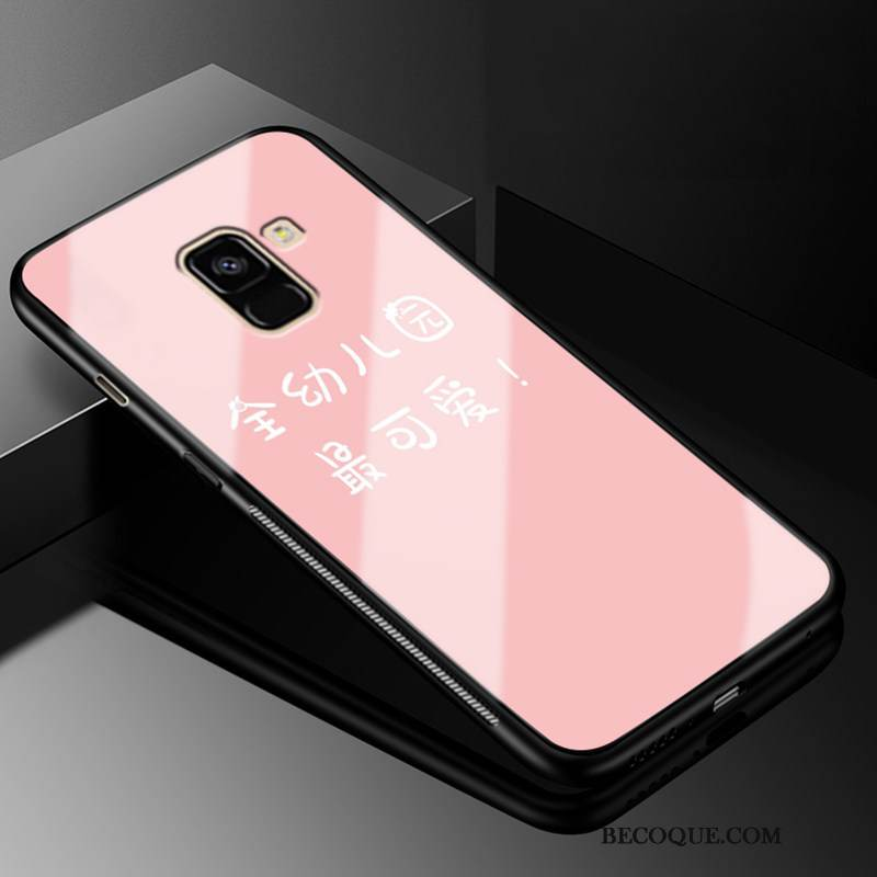 Coque Samsung Galaxy A8 2018 Fluide Doux Simple Rose, Étui Samsung Galaxy A8 2018 Protection Verre Incassable