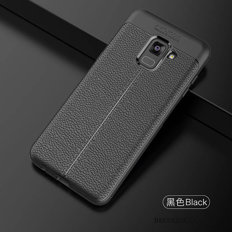 Coque Samsung Galaxy A8 2018 Protection Incassable Noir, Étui Samsung Galaxy A8 2018 Fluide Doux