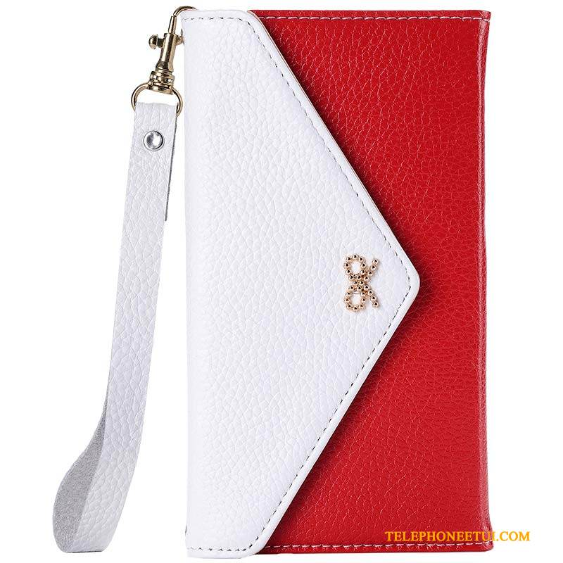 Coque Samsung Galaxy A8 Cuir Rouge Ornements Suspendus, Étui Samsung Galaxy A8 Protection De Téléphone Simple