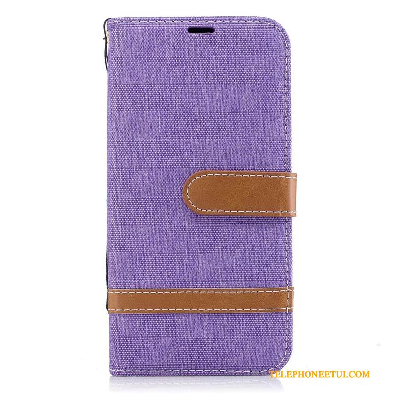 Coque Samsung Galaxy J3 2017 Cuir Violet En Denim, Étui Samsung Galaxy J3 2017 Protection