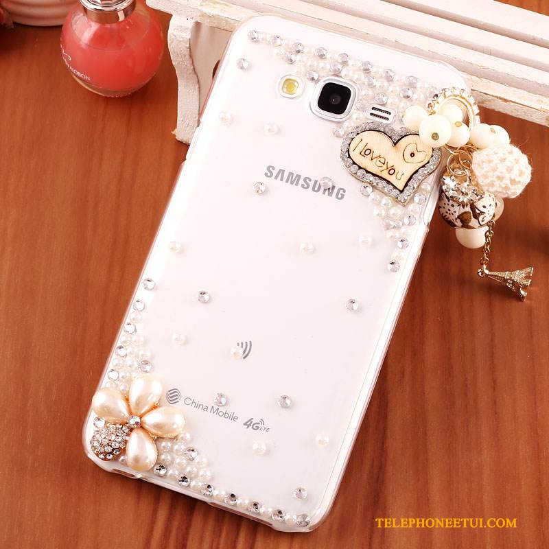 Coque Samsung Galaxy J7 2015 Strass De Téléphone Transparent, Étui Samsung Galaxy J7 2015 Protection Or Difficile