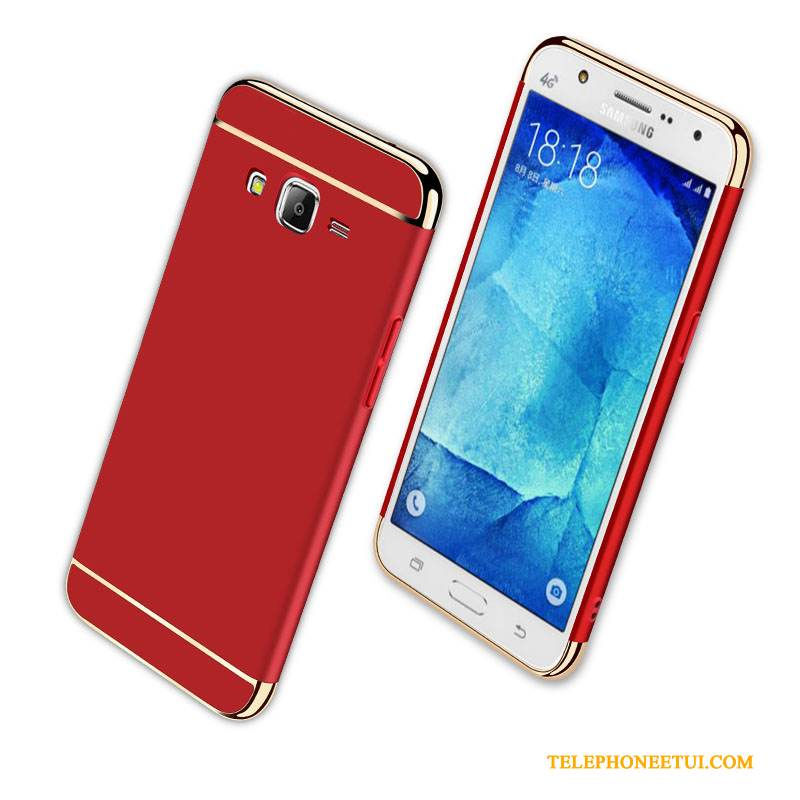 Coque Samsung Galaxy J7 2016 Sacs Difficile Délavé En Daim, Étui Samsung Galaxy J7 2016 Protection Incassable Rouge