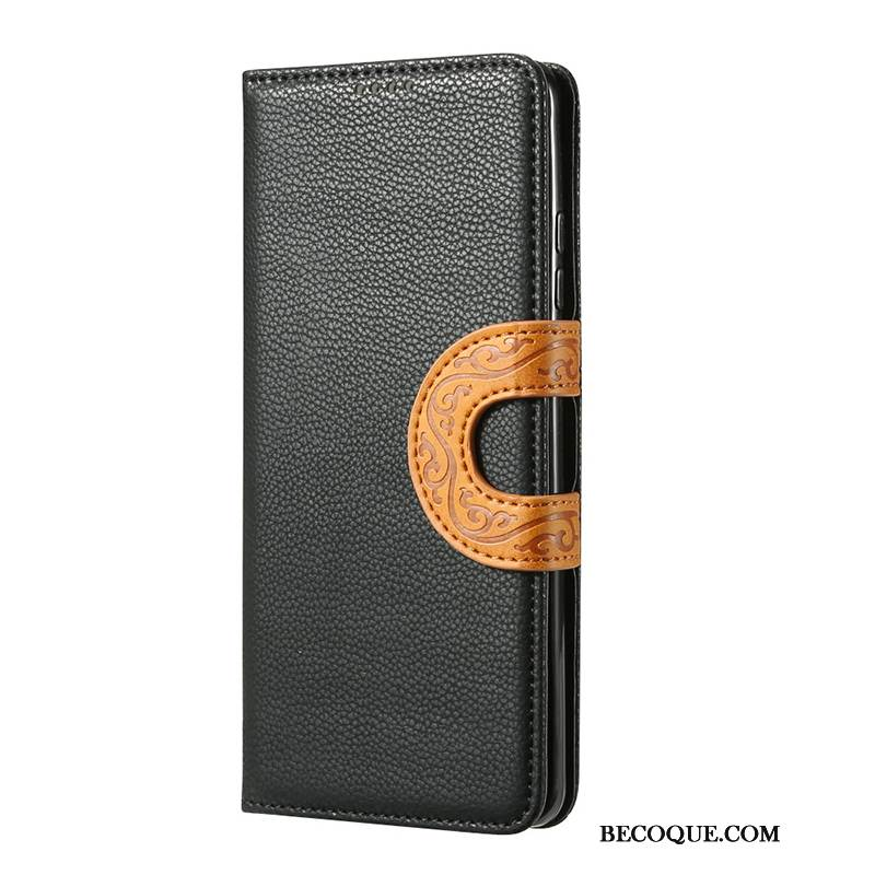 Coque Samsung Galaxy Note 10 Housse Style Chinois Vent, Étui Samsung Galaxy Note 10 Vintage Noir Totem