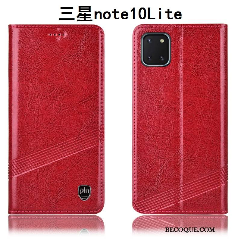 Coque Samsung Galaxy Note 10 Lite Housse Rougede Téléphone, Étui Samsung Galaxy Note 10 Lite Cuir Incassable