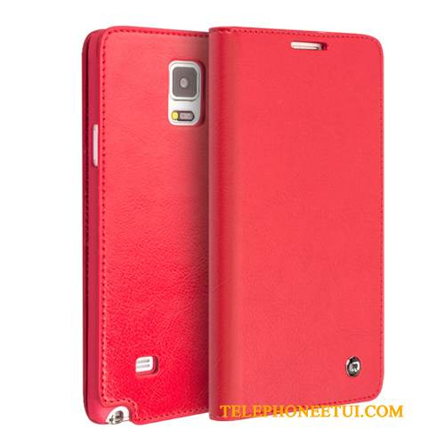 Coque Samsung Galaxy Note 4 Cuir Rouge, Étui Samsung Galaxy Note 4 Protection