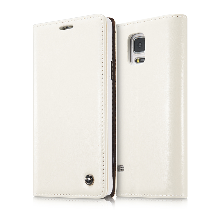 Coque Samsung Galaxy Note 4 Portefeuille Carte Bovins, Étui Samsung Galaxy Note 4 Protection Business Blanc