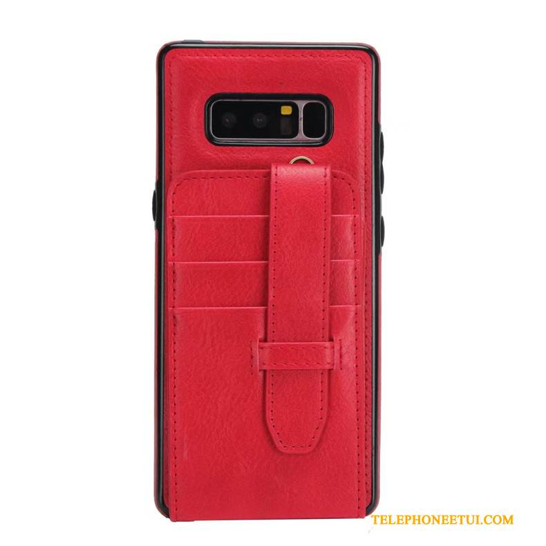 Coque Samsung Galaxy Note 8 Portefeuille Rouge Incassable, Étui Samsung Galaxy Note 8 Protection Ornements Suspendus