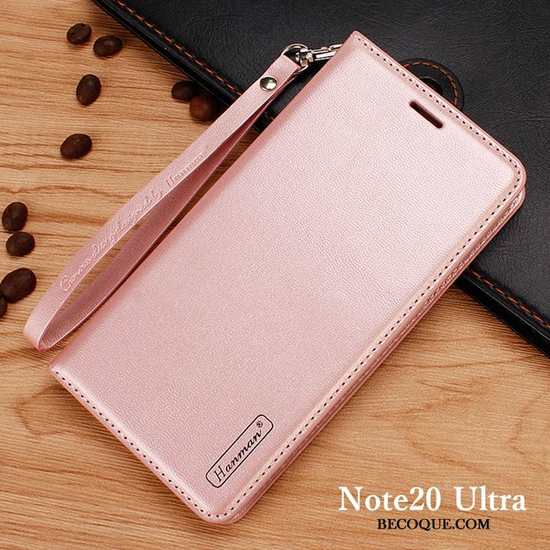 Coque Samsung Galaxy Note20 Ultra Housse Rosede Téléphone, Étui Samsung Galaxy Note20 Ultra Portefeuille