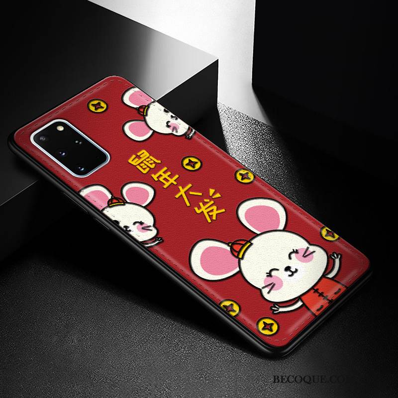 Coque Samsung Galaxy S20+ Fluide Doux Charmant Tendance, Étui Samsung Galaxy S20+ Protection Incassable Rouge