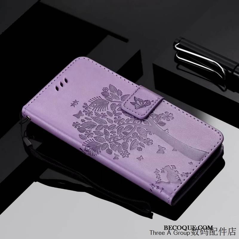 Coque Samsung Galaxy S20 Protection Chat Incassable, Étui Samsung Galaxy S20 Gaufrage Charmant Violet