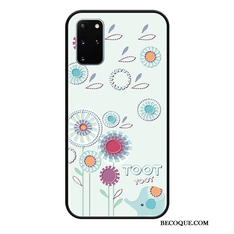 Coque Samsung Galaxy S20+ Protection Incassable Charmant, Étui Samsung Galaxy S20+ Gaufrage Bleu Tendance