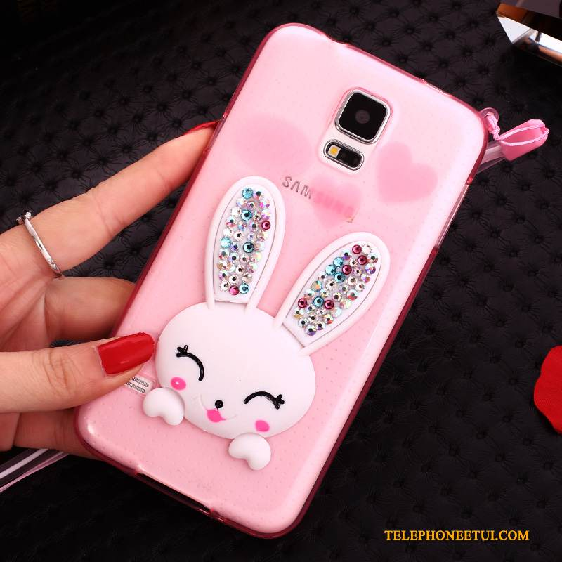 Coque Samsung Galaxy S5 Support Transparent Lapin, Étui Samsung Galaxy S5 Silicone Rosede Téléphone