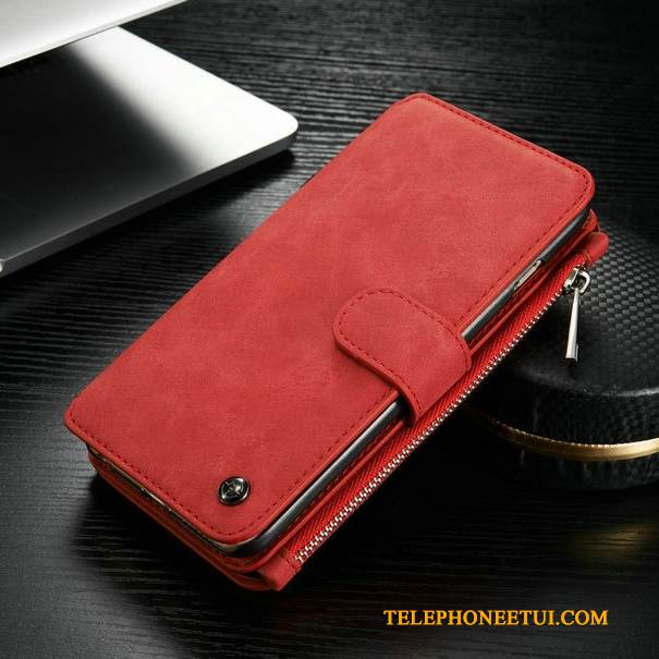 Coque Samsung Galaxy S6 Edge Portefeuille Rouge, Étui Samsung Galaxy S6 Edge Protection