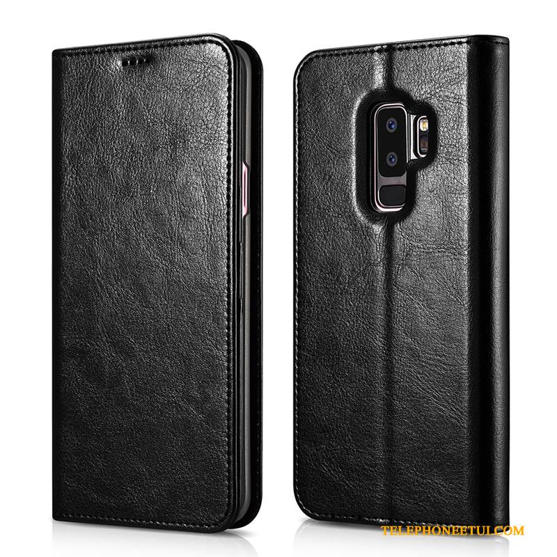 Coque Samsung Galaxy S9+ Protection Incassable Noir, Étui Samsung Galaxy S9+ Cuir Carte Tendance