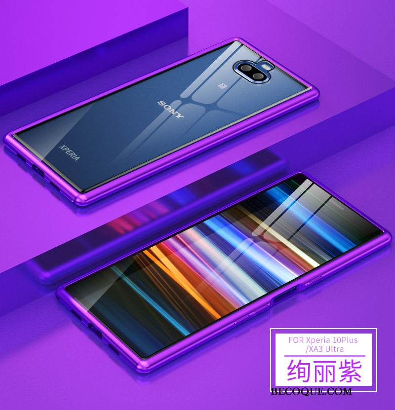 Coque Sony Xperia 10 Plus Métal Violet Brillant, Étui Sony Xperia 10 Plus Protection Incassable Border