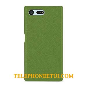 Coque Sony Xperia X Compact Cuir Antidérapant Vert, Étui Sony Xperia X Compact Protection De Téléphone