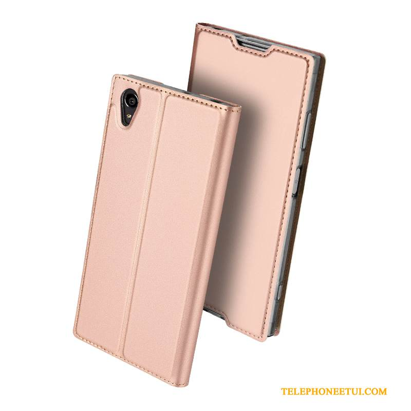 Coque Sony Xperia Xa1 Plus Housse Rose Business, Étui Sony Xperia Xa1 Plus Support Incassable Mince